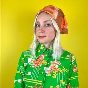 Vintage 60s orange bronze headscarf hippie bandana